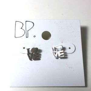 Jewelry - Robert Indiana LOVE silver earrings pop art studs